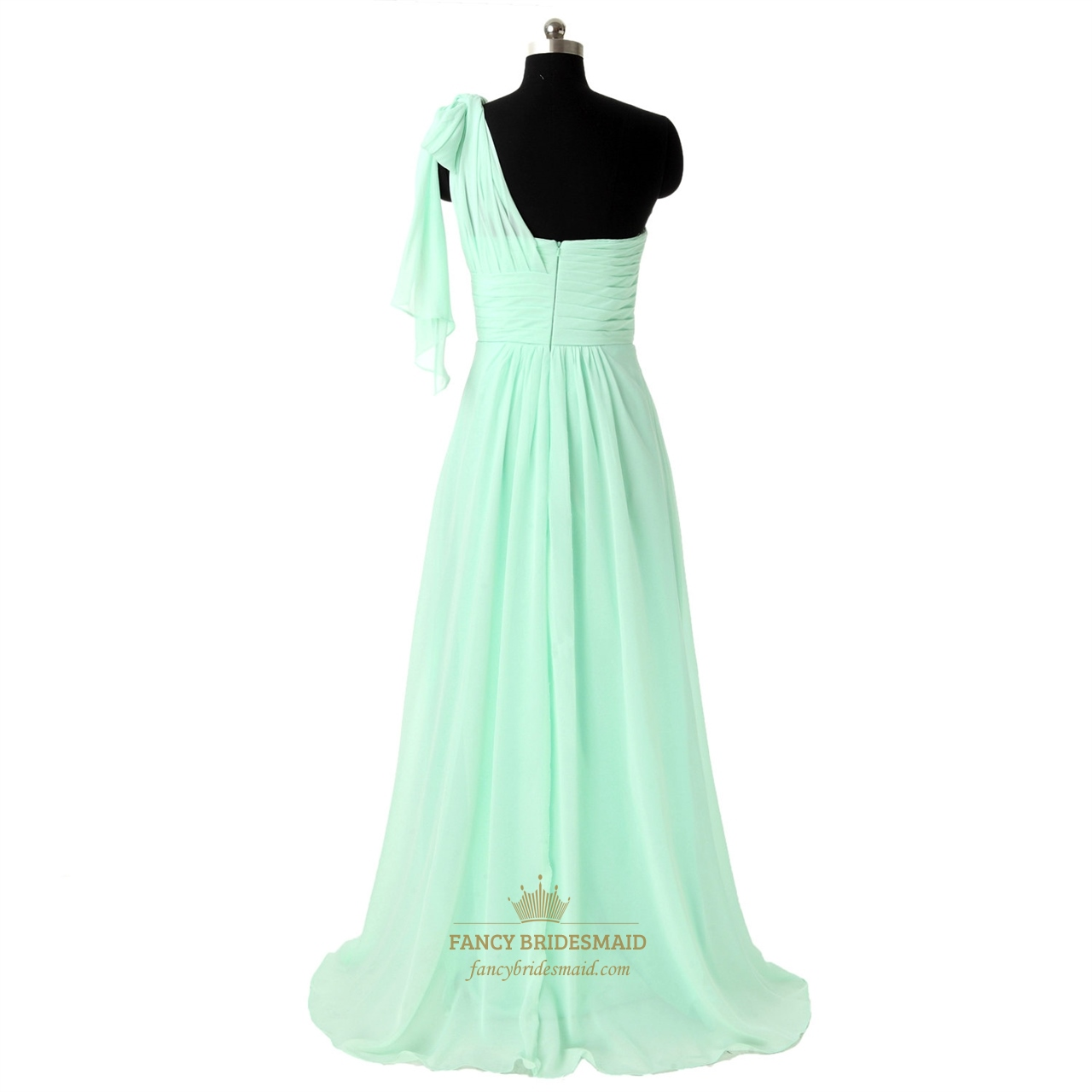 mint one shoulder bridesmaid dress with watteau trains