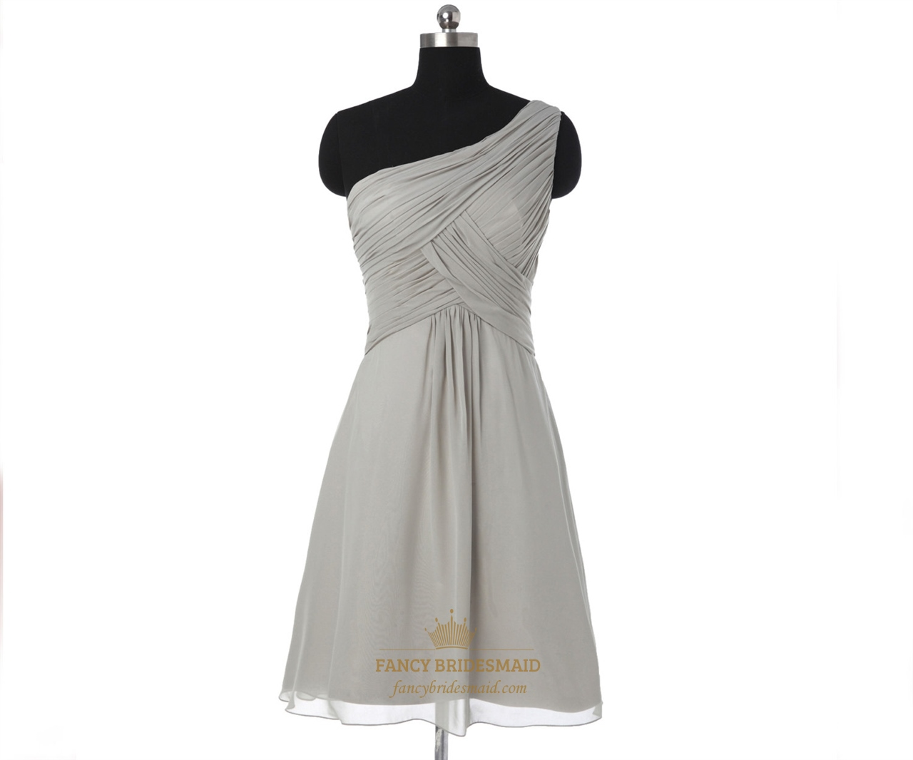 Grey one shoulder pleated short chiffon bridesmaid dress for Short chiffon wedding dress
