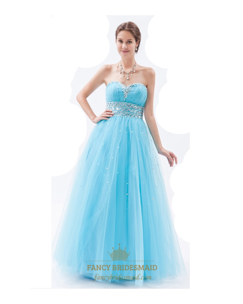 Aqua Blue Beaded Sweetheart Tulle Prom Dress With Rhinestones ...
