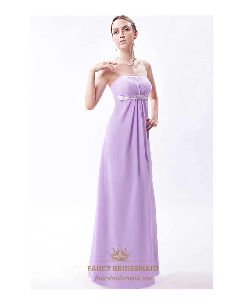 Lilac Strapless Empire Bridesmaid Dresses With