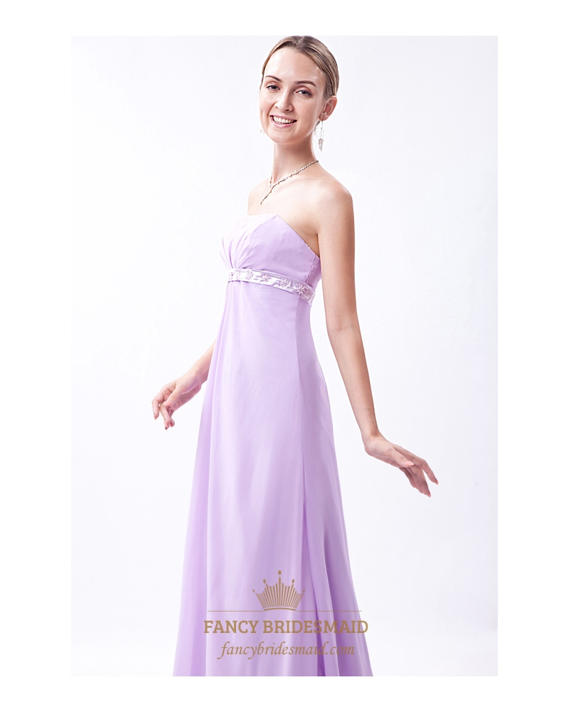 Lilac Strapless Empire Bridesmaid Dresses With ...