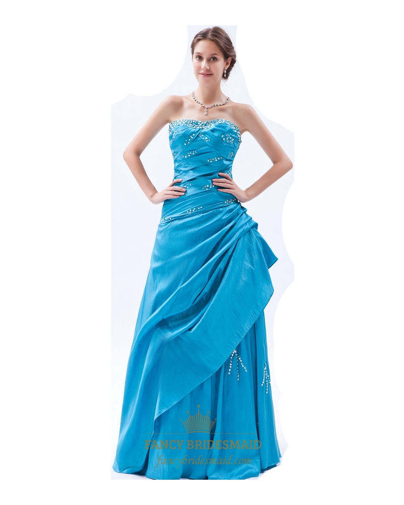 Sky Blue Gorgeous Taffeta Strapless Sequin Prom Dress With A Side ...