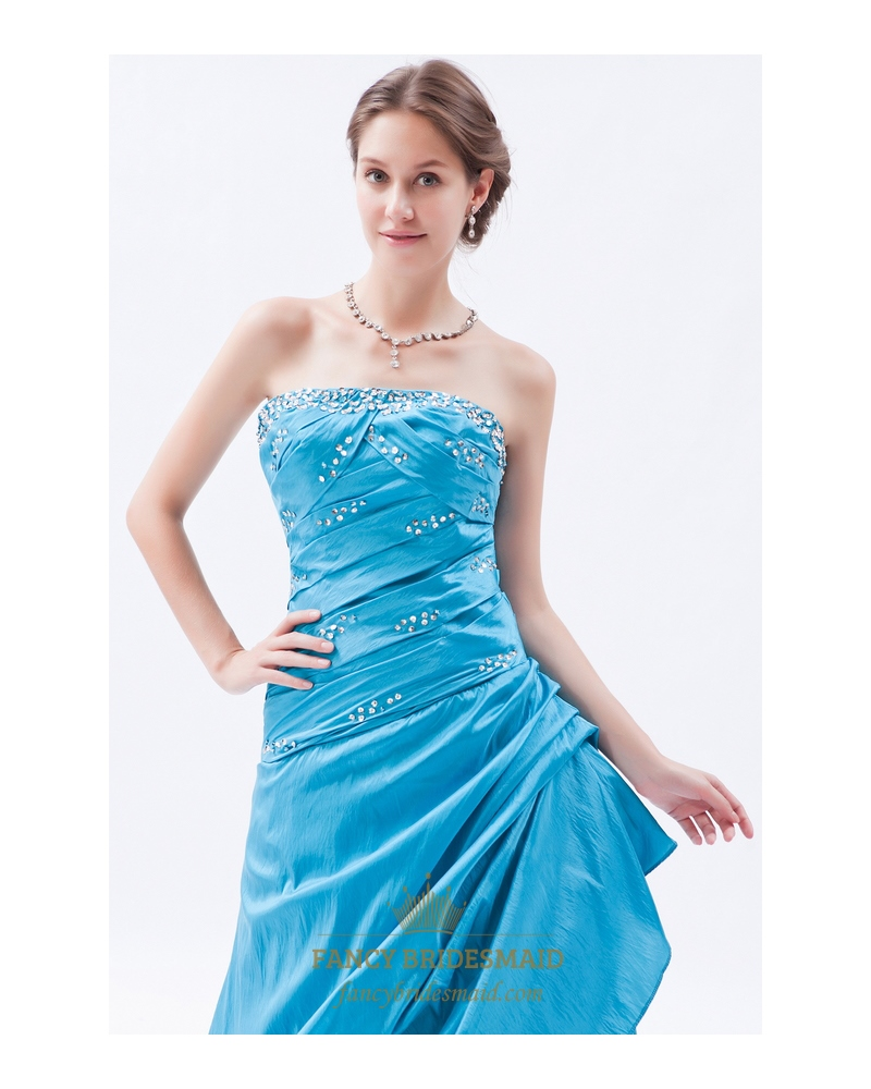 Sky Blue Gorgeous Taffeta Strapless Sequin Prom Dress With ...