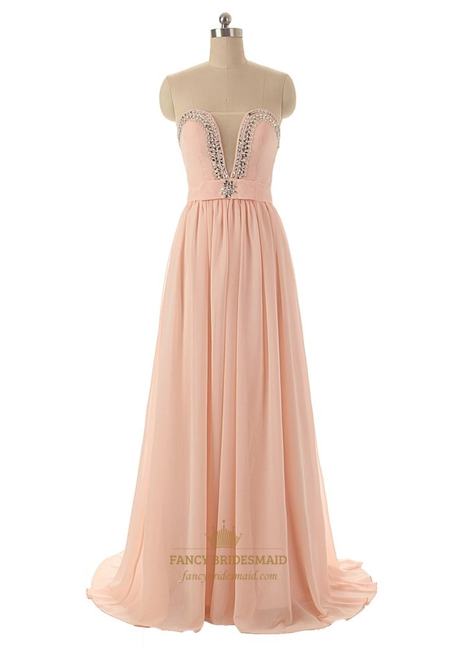 peach illusion neckline chiffon strapless prom dress with