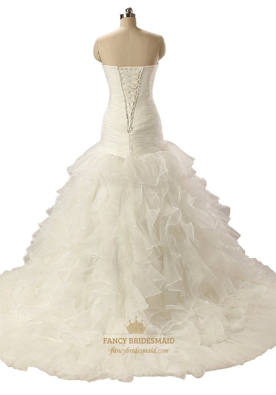 Ivory Mermaid Strapless Ruched Organza Wedding Dress With