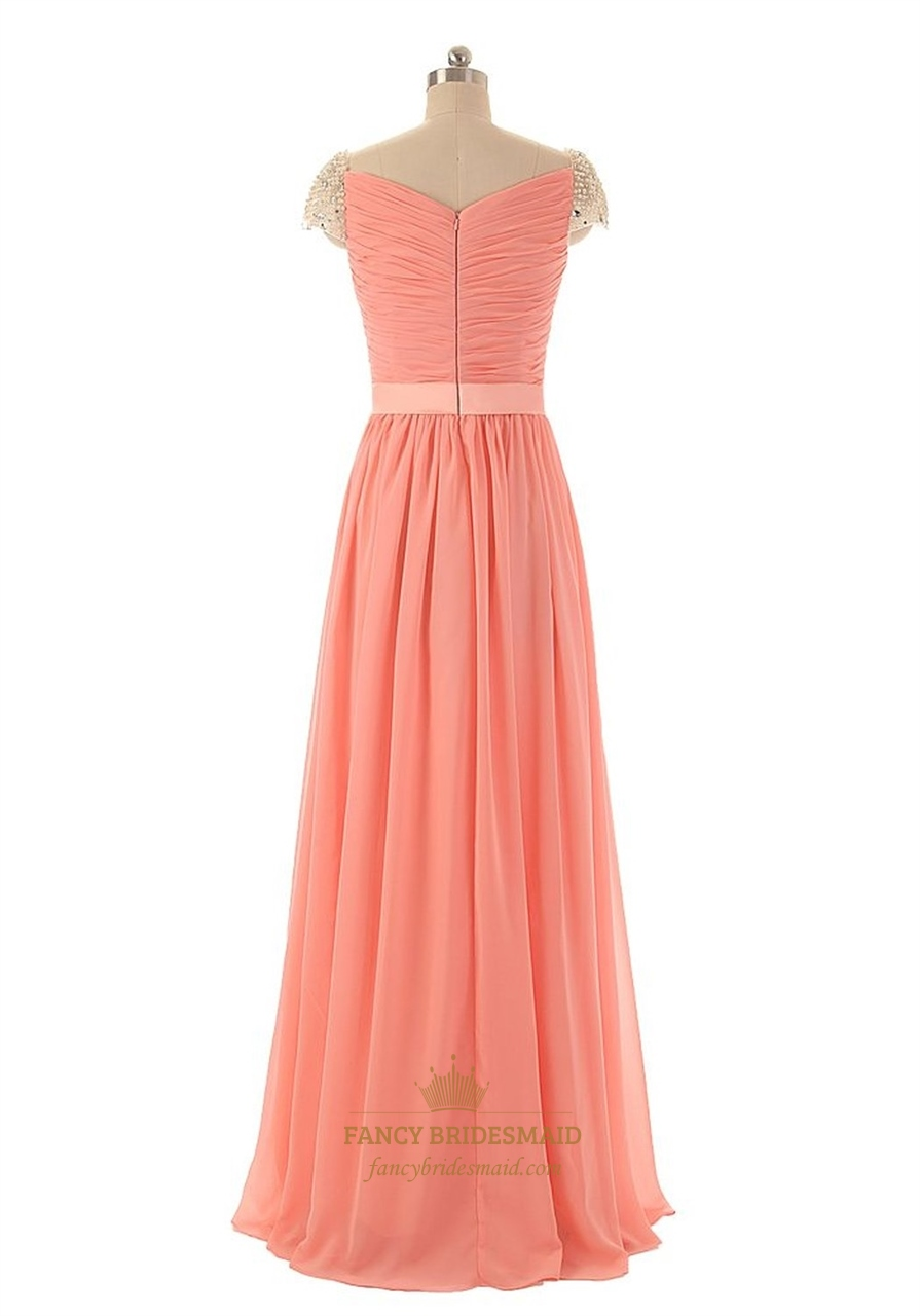 Coral long chiffon cap sleeves bridesmaid dress with twist for Wedding dress chiffon sleeves