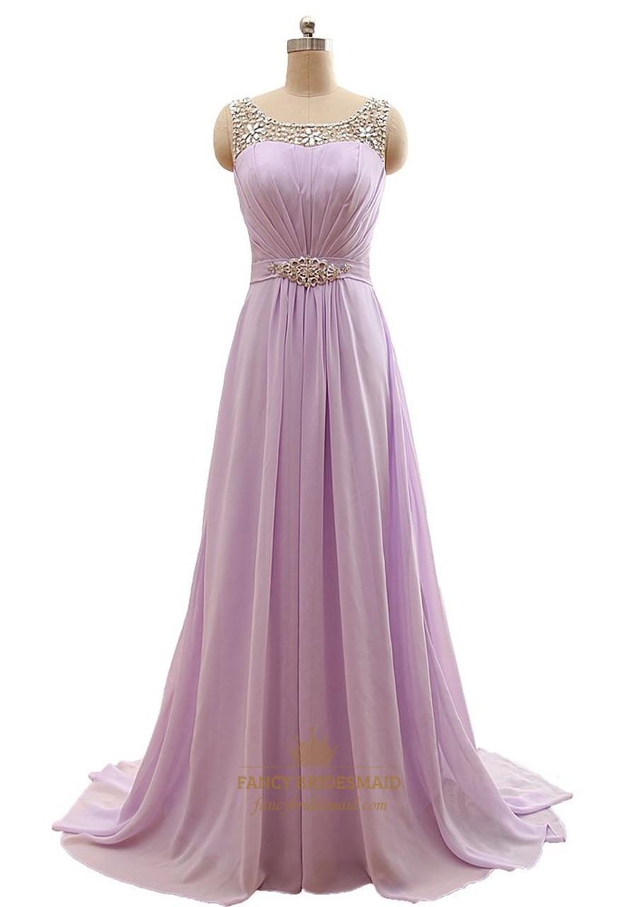 lilac chiffon floor length beaded neckline prom dress with