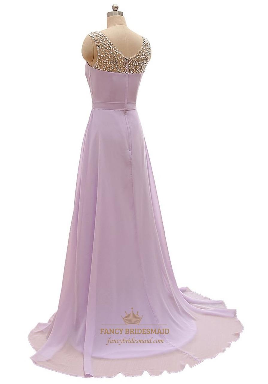 Lilac Chiffon Floor Length Beaded Neckline Prom Dress With ...