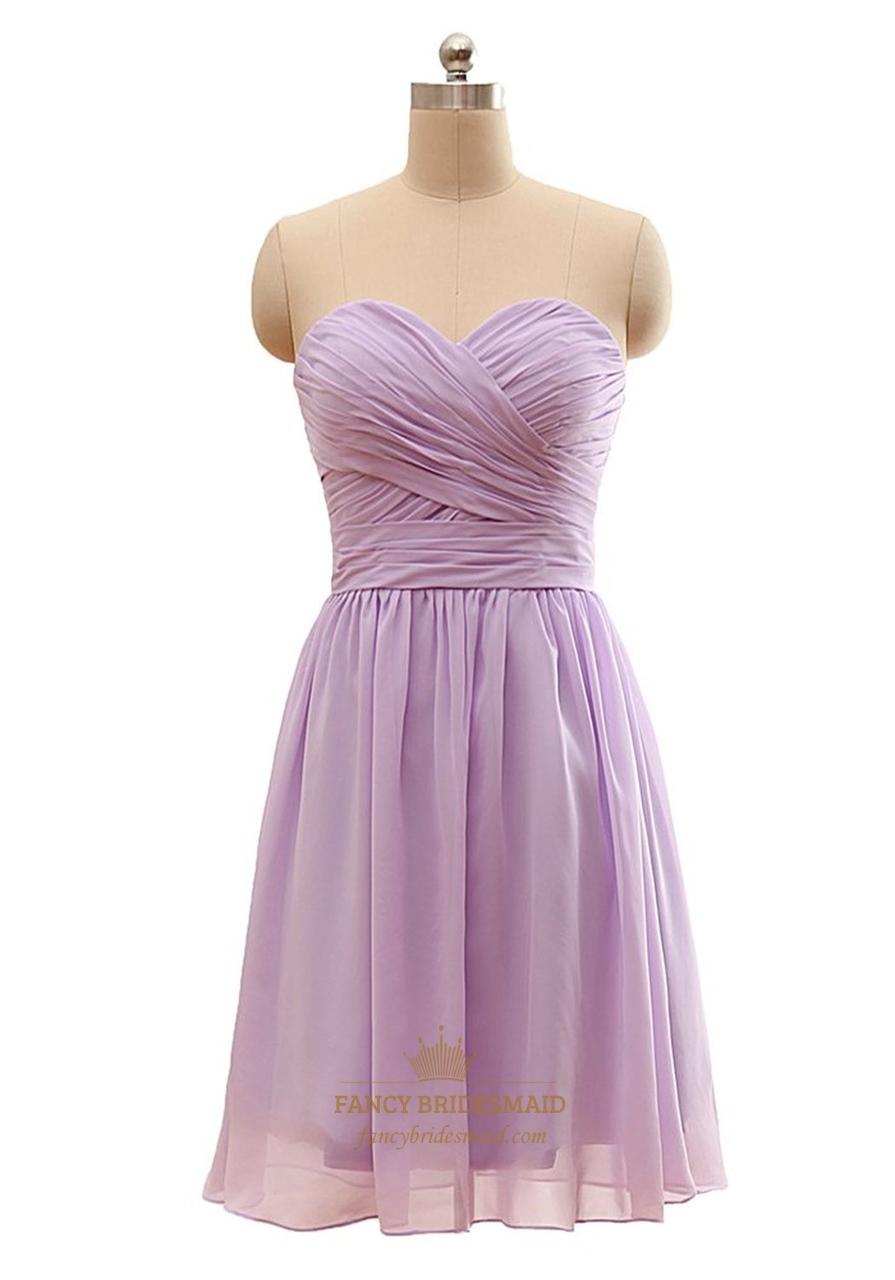 lilac strapless aline sweetheart kneelength chiffon