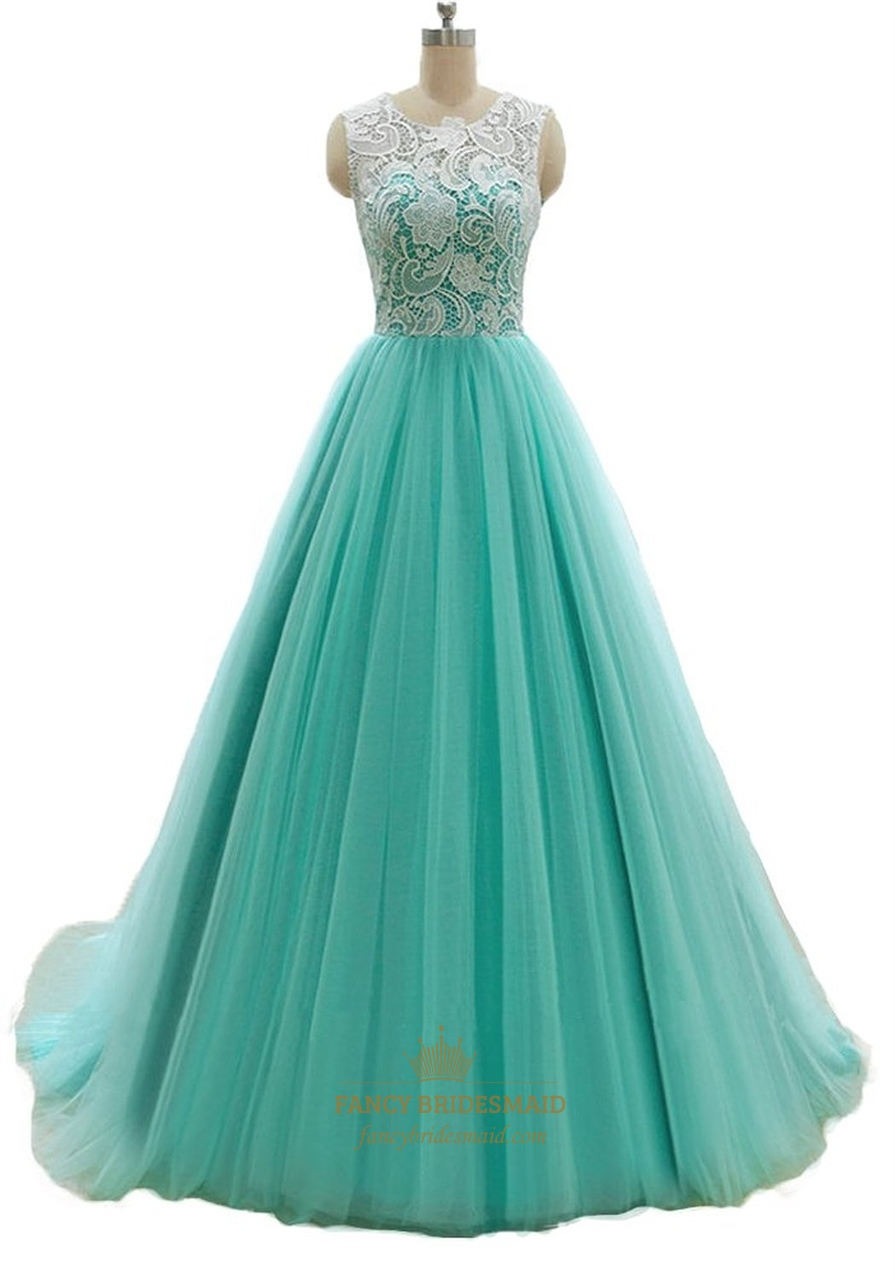 Mint Green A Line Long Illusion Lace Bodice Tulle Skirt Prom Dress ...