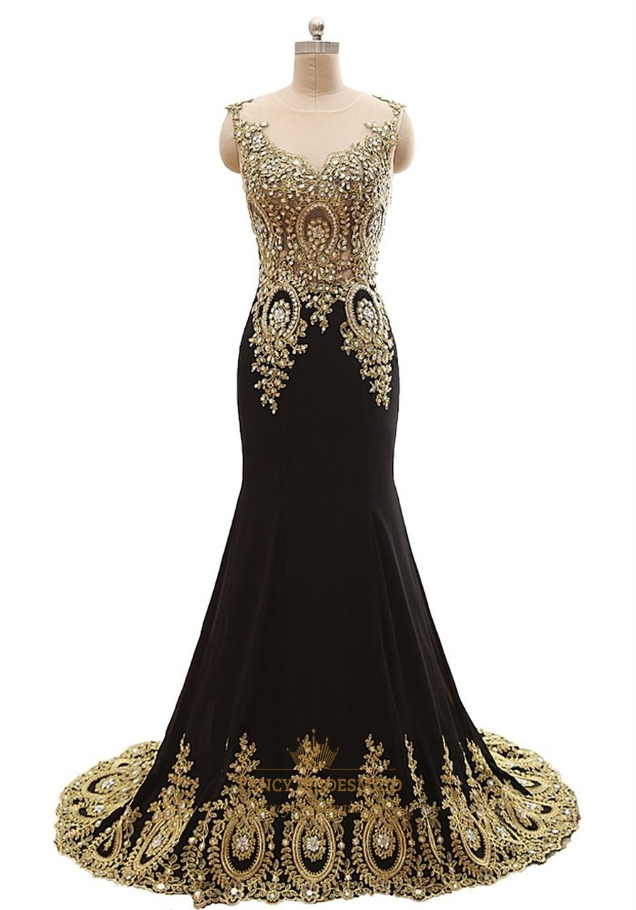 Black Sheer Illusion Neckline Mermaid Prom Dress With Gold