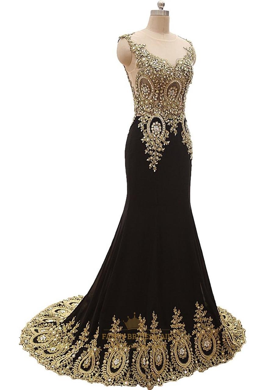 Black Sheer Illusion Neckline Mermaid Prom Dress With Gold ...