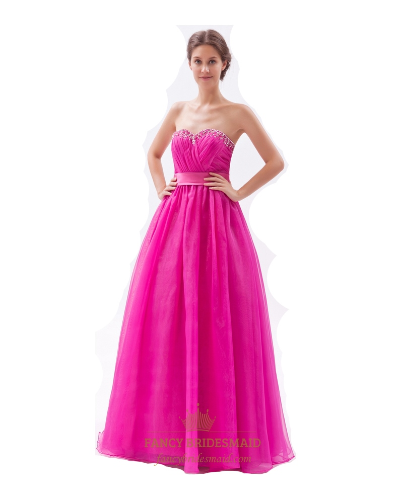 Hot Pink Beaded Neckline A Line Princess Sweetheart Organza Prom ...