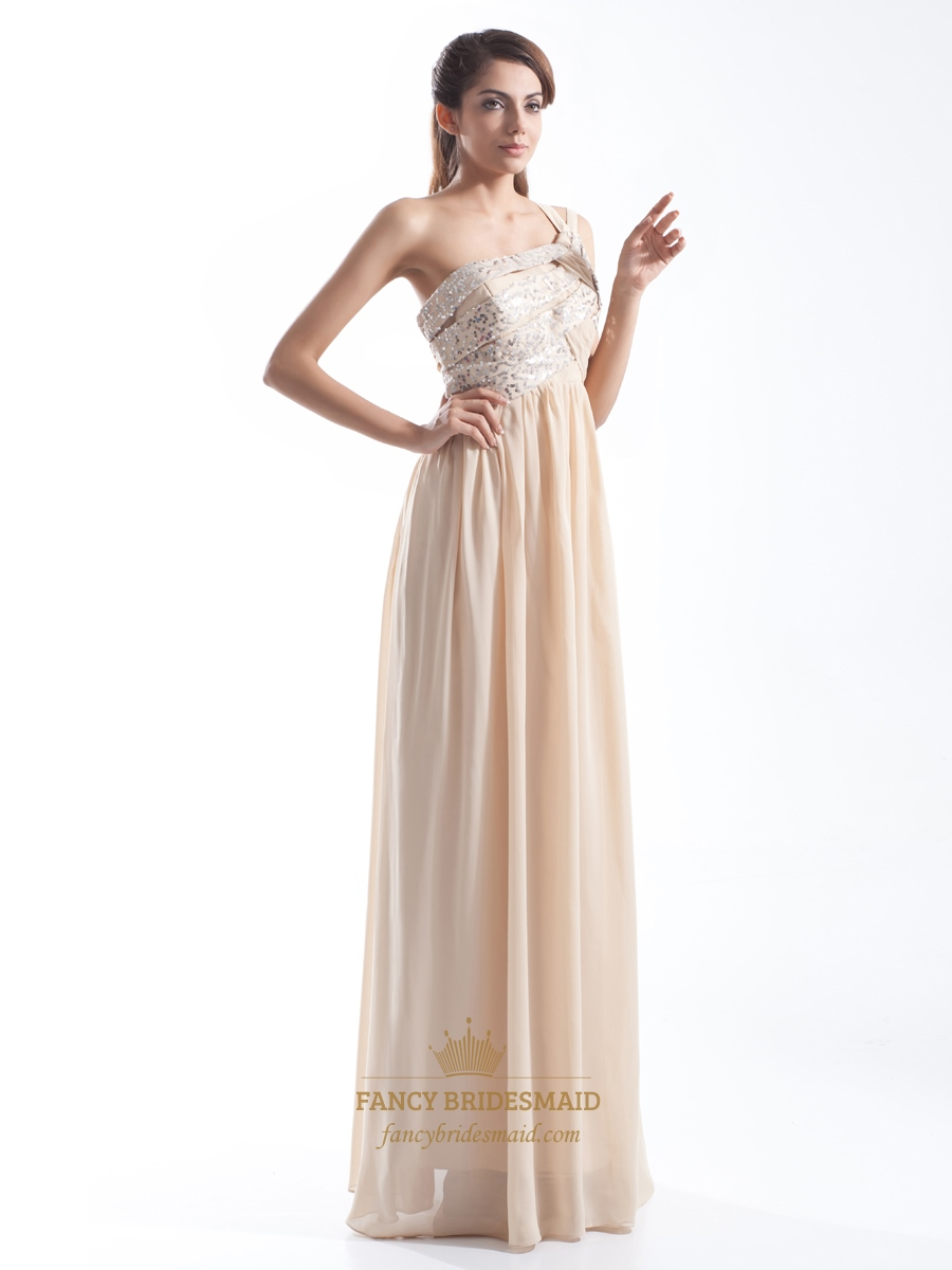 Champagne One Shoulder Chiffon Bridesmaid Dress With