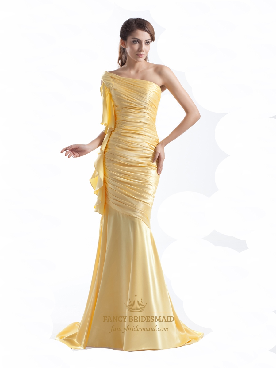Yellow One Shoulder Floor-Length Mermaid Prom Dress With Ruffles ...