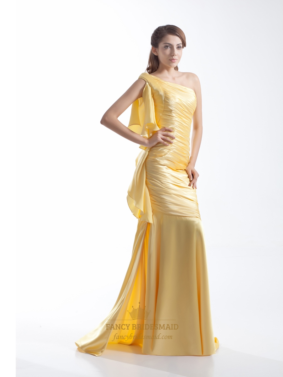 yellow one shoulder floorlength mermaid prom dress with