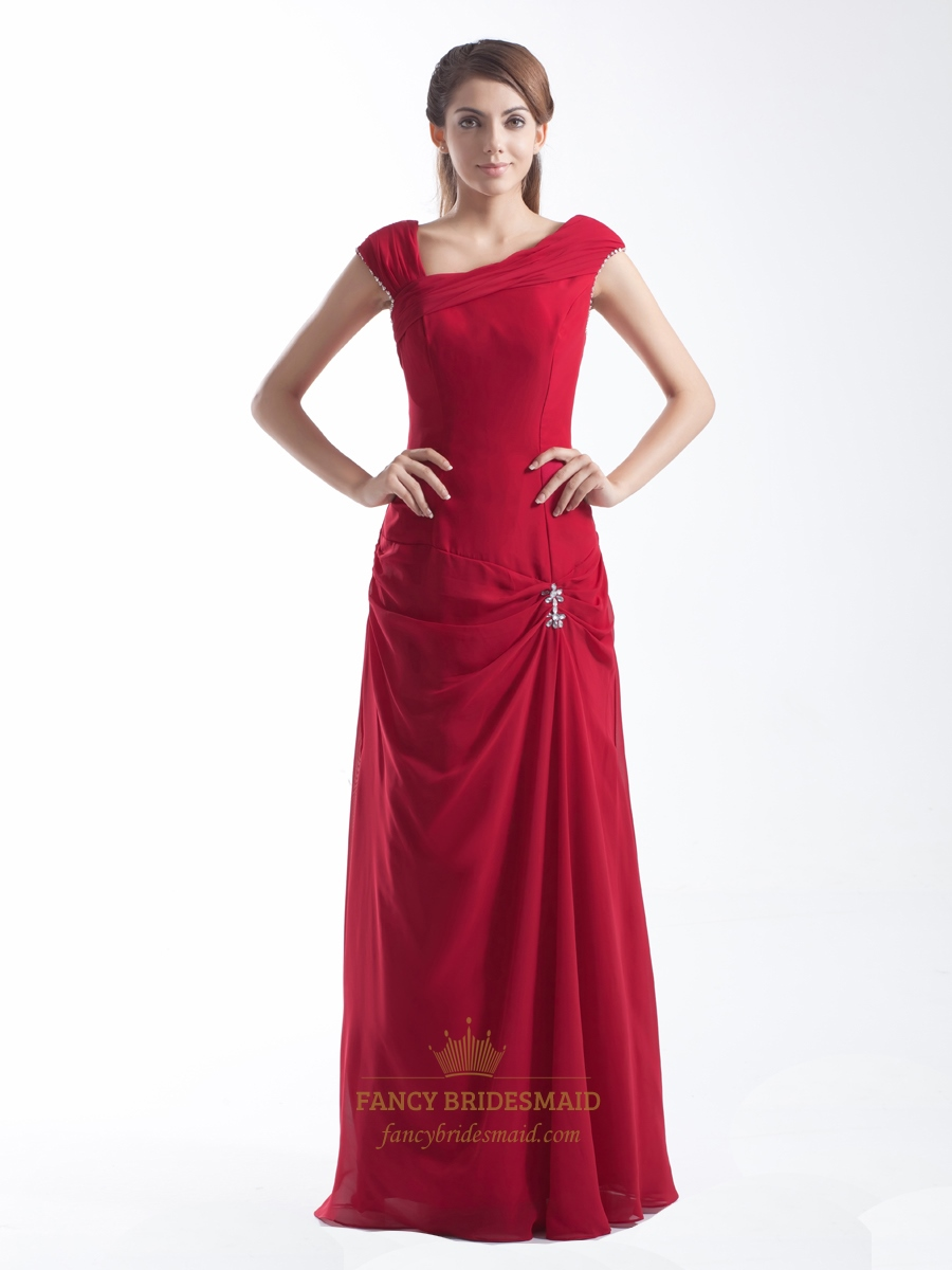 Red Asymmetrical Chiffon Cap Sleeve Long Prom Dress With ...