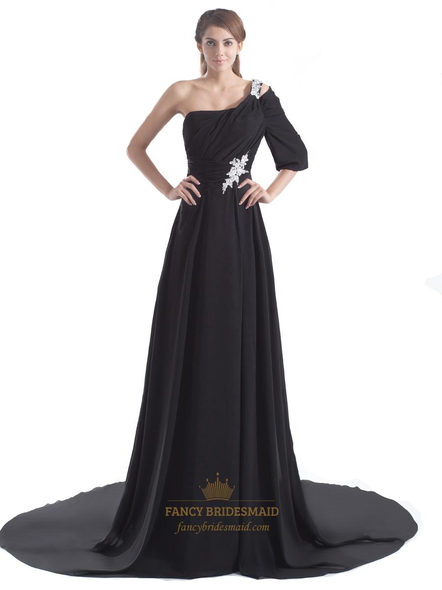 Black chiffon embellished one shoulder sleeve long prom for One shoulder long sleeve wedding dress