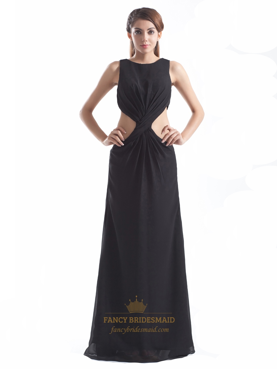 Long black chiffon high neck floor length prom dress with for Floor length dress