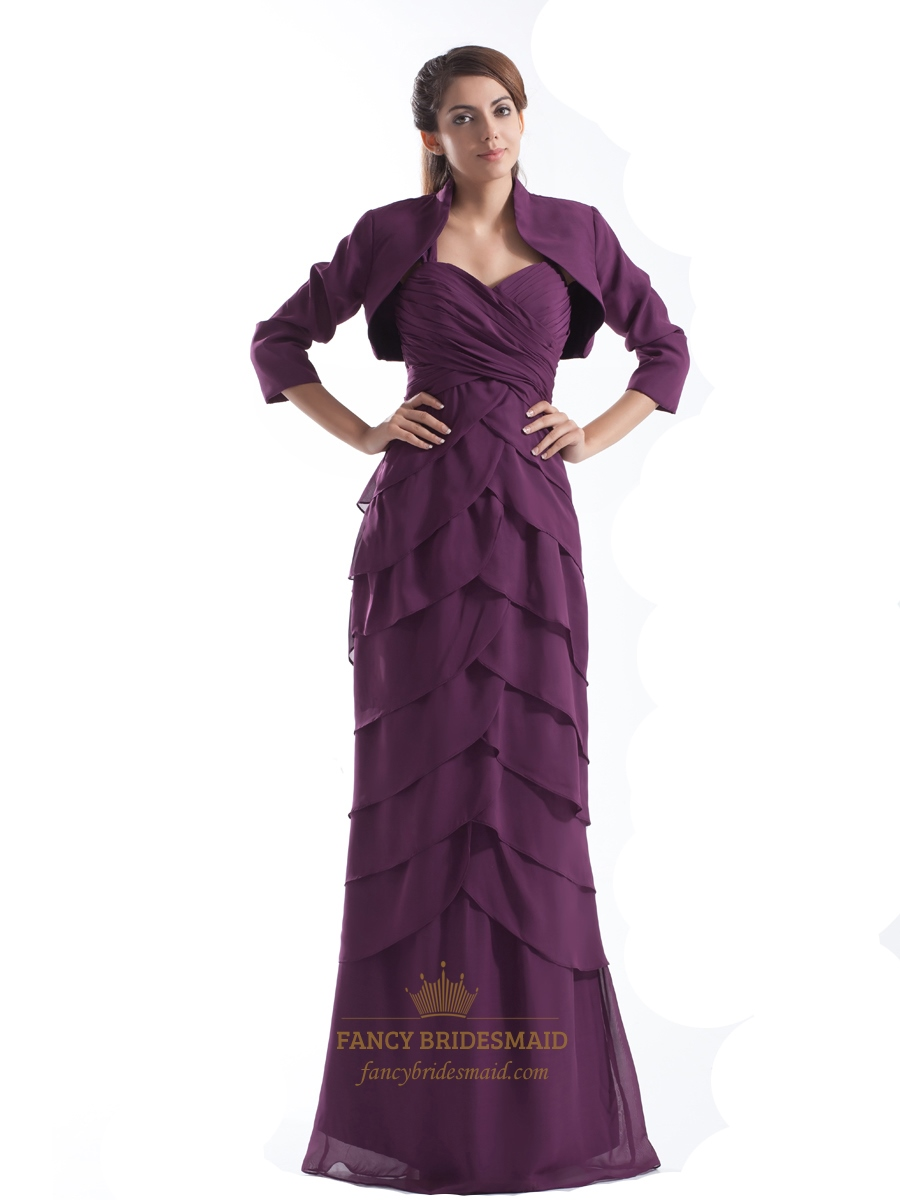 Grape Empire Chiffon Mother Of The Bride Layered Dresses With Jacket ...