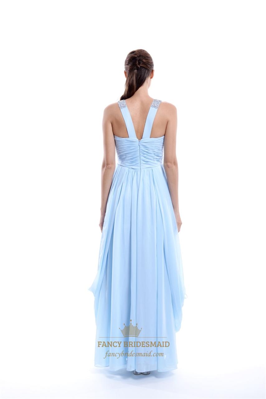 Light Blue Twist Front V Neck Chiffon Prom Dress With