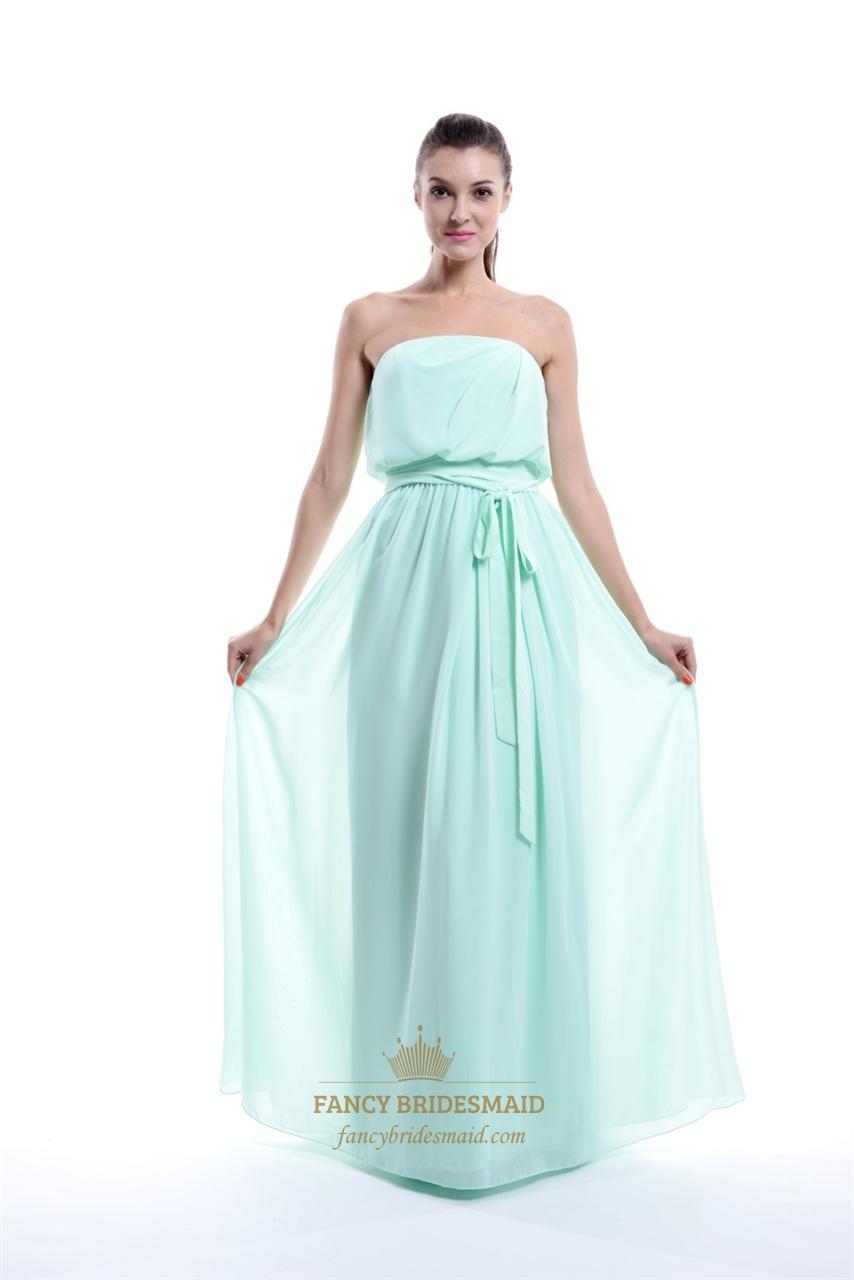 Mint green strapless chiffon strapless ruffle bridesmaid for Mint bridesmaid dresses wedding