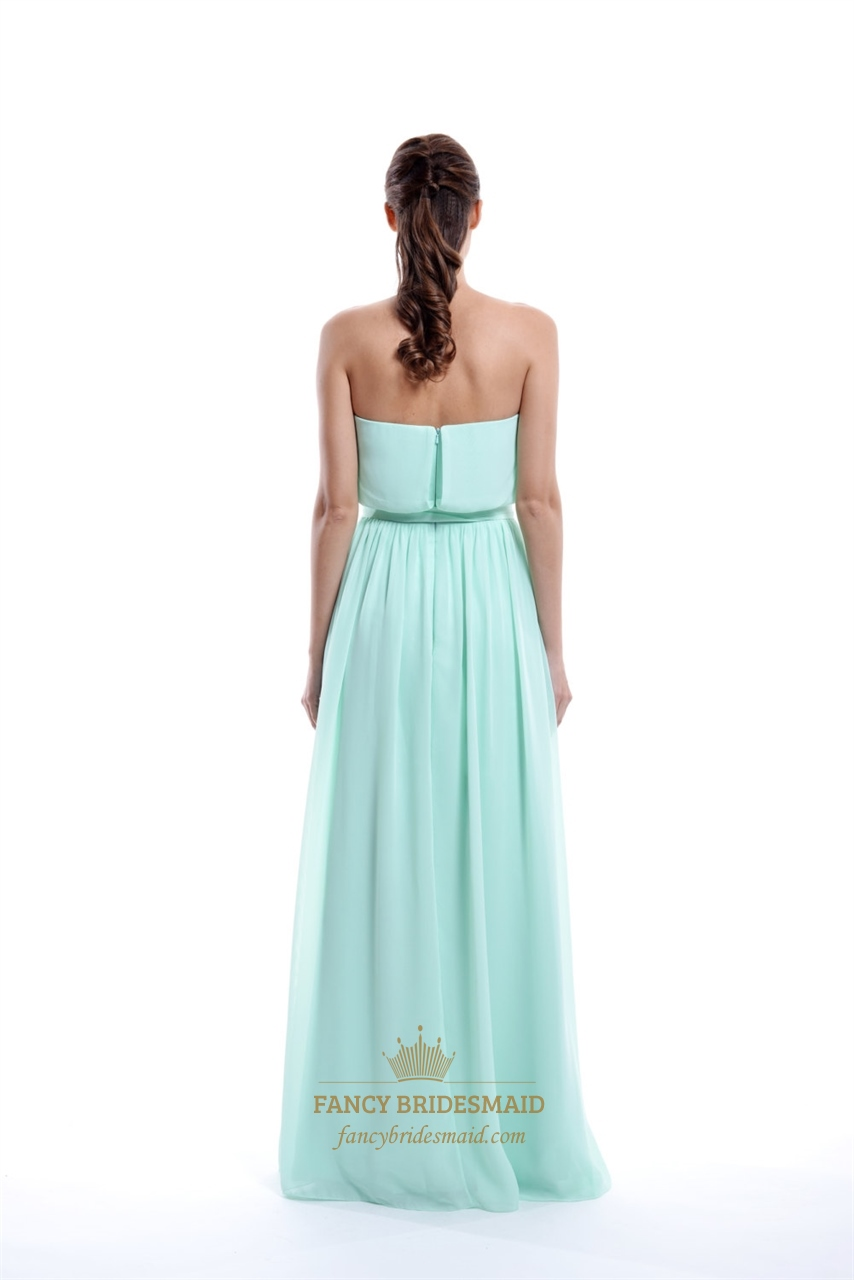 Mint green strapless chiffon strapless ruffle bridesmaid for Mint green wedding dress