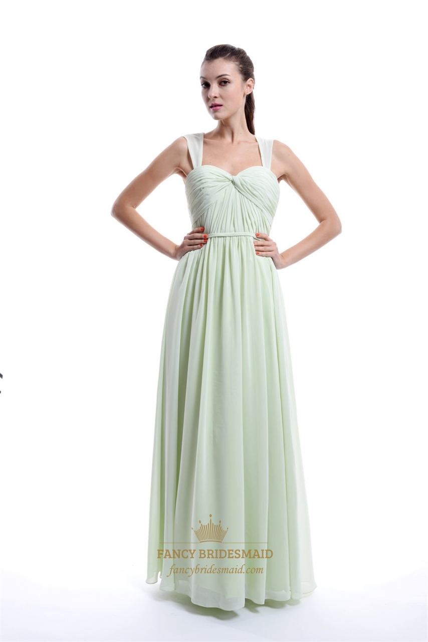 Mint Green Sleeveless Pleated Chiffon Bridesmaid Dress ...