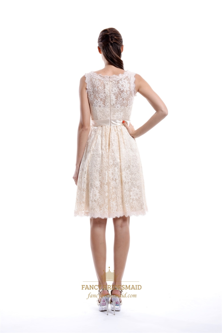 Champagne knee length illusion neckline vintage lace for Knee length lace wedding dress