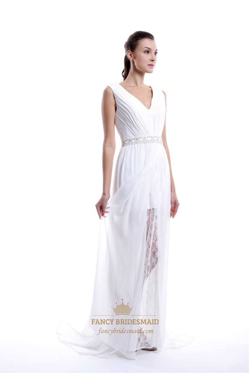 ebe54767ff White V neck Sheer Overlay Chiffon Prom Dress With Beaded Detail SKU -NW489