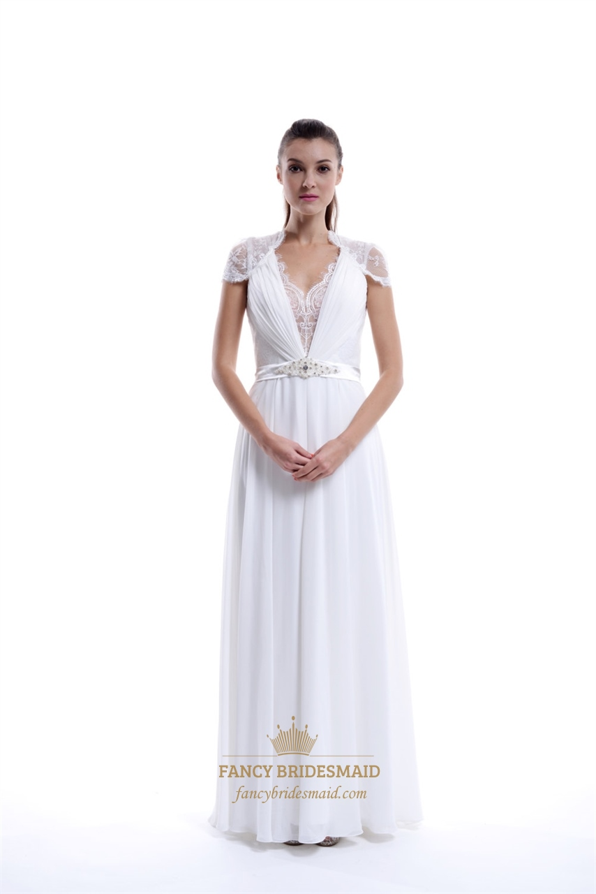 Long White Chiffon V Neck Cap Sleeve Prom Dress With Lace