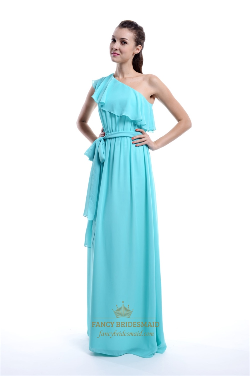 Aqua one shoulder chiffon ruffle bridesmaid dress with cascading aqua one shoulder chiffon ruffle bridesmaid dress with cascading detail ombrellifo Gallery