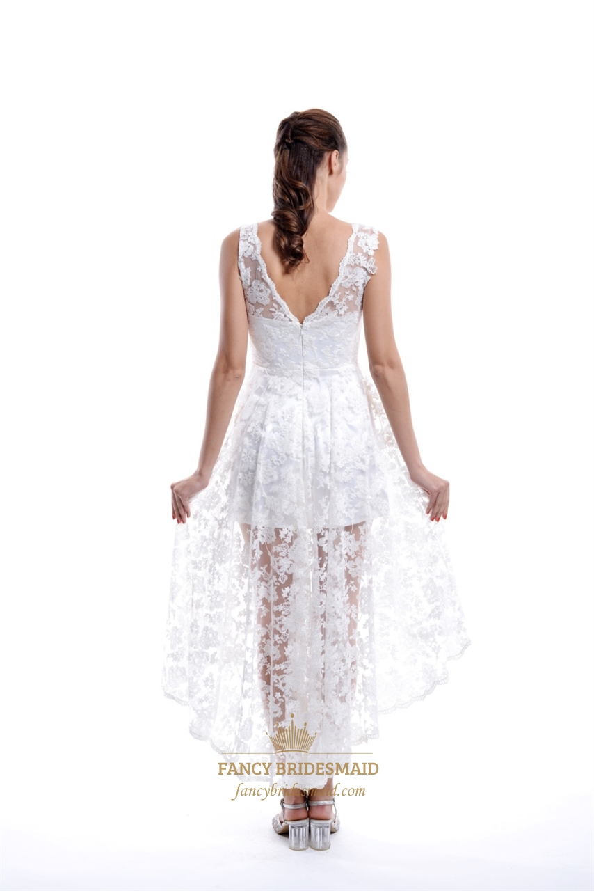 White v neck lace illusion top asymmetrical high low short for White high low wedding dress