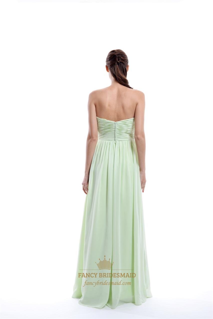 Mint Green Sweetheart Chiffon Empire Waist Bridesmaid ...