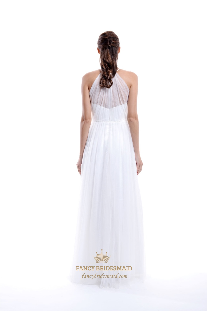 Long Elegant White High Neck Illusion Top Prom Dress With