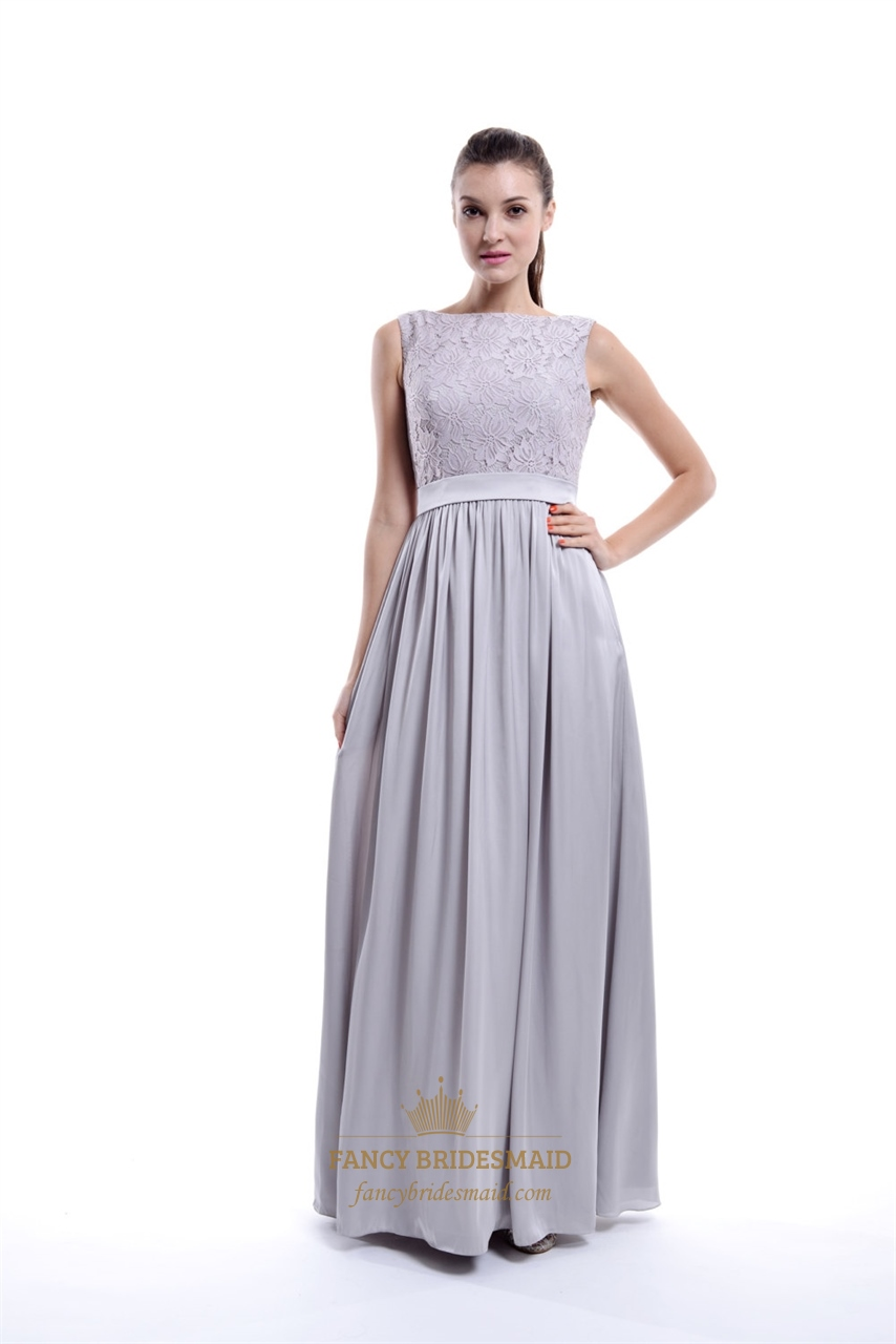 Light Grey Sleeveless Lace Top And Chiffon Bottom Long Bridesmaid Dress