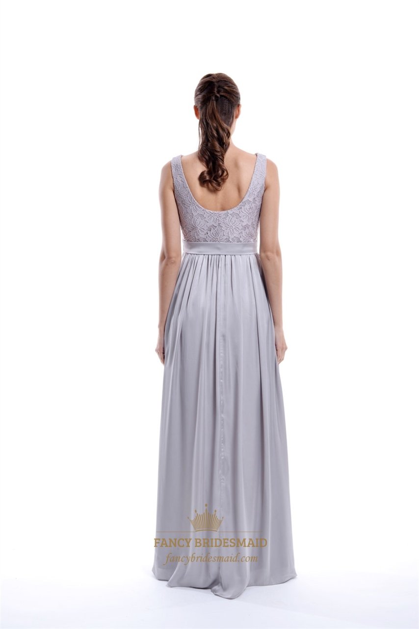 Light grey sleeveless lace top and chiffon bottom long for Light grey wedding dress