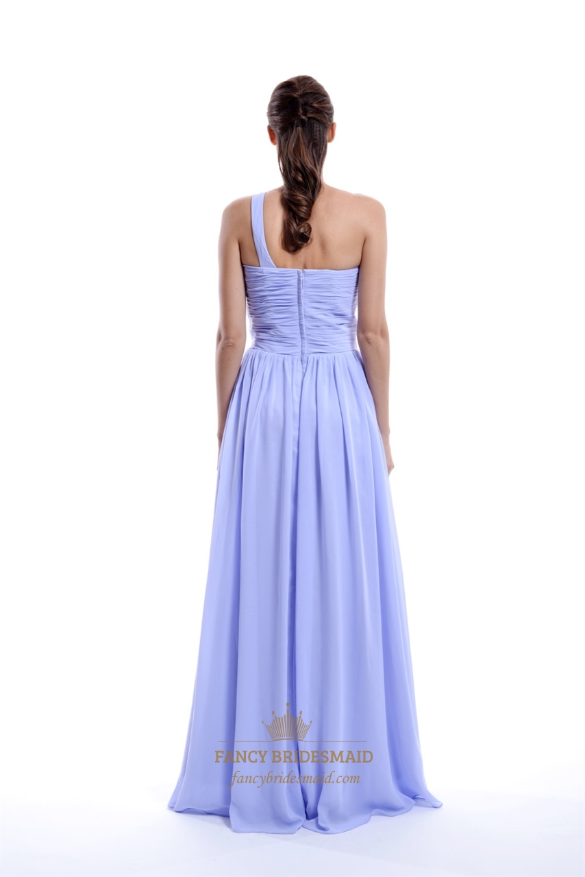 Lilac Empire One-Shoulder Chiffon Bridesmaid Dress With ...
