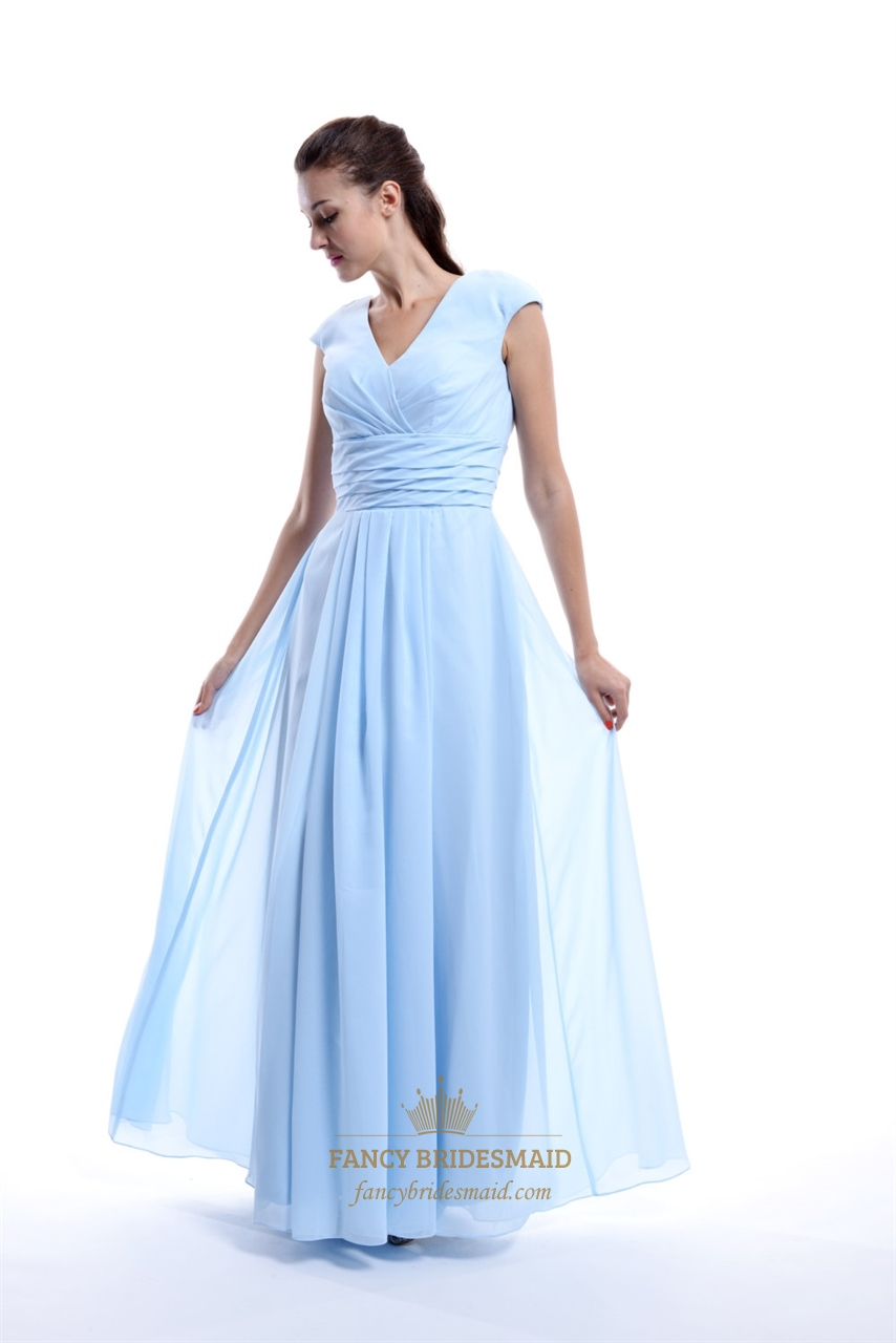 Light blue chiffon v neck back ruched bridesmaid dress for Blue wedding dress with sleeves