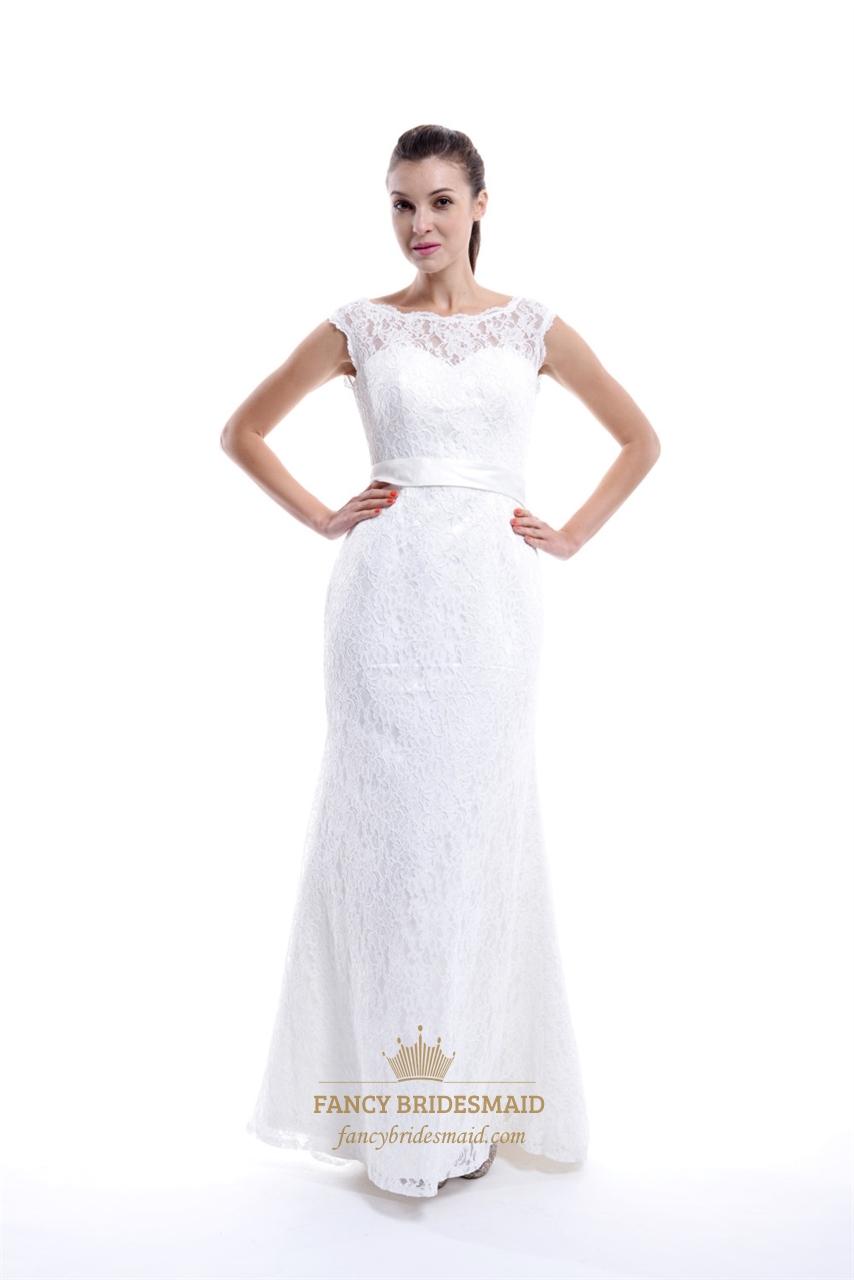 5a2a302d19 Illusion Bateau Neckline Low Back Mermaid Lace Wedding Dress With Sash SKU  -NW511