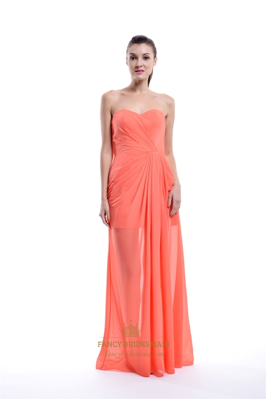 Coral Chiffon Short Bridesmaid Dress With Floor Length Sheer Overlay