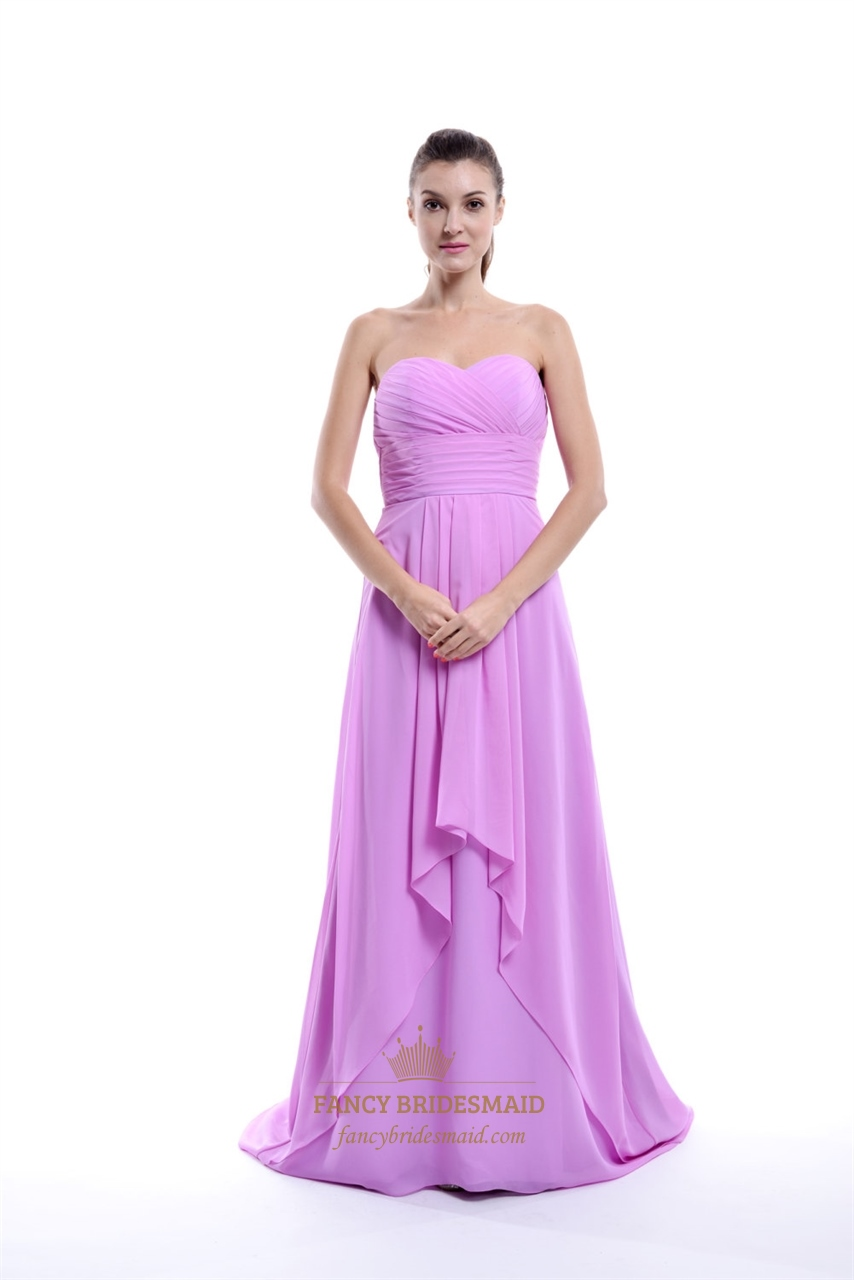 fdf50af79d Lilac Strapless Crinkle Chiffon Bridesmaid Dress With Front Cascade SKU  -NW513