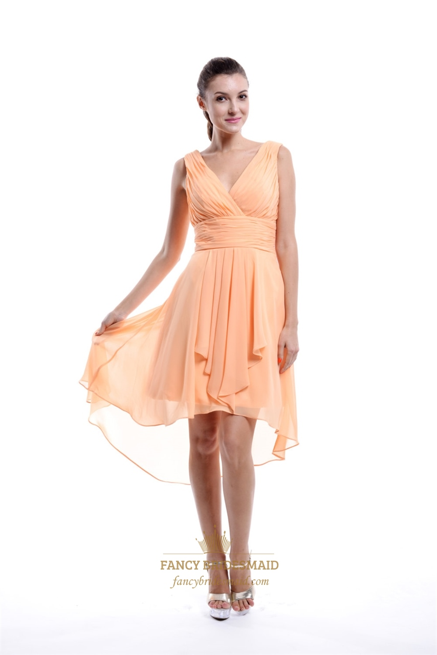 peach chiffon high low ruched vneck sleeveless short