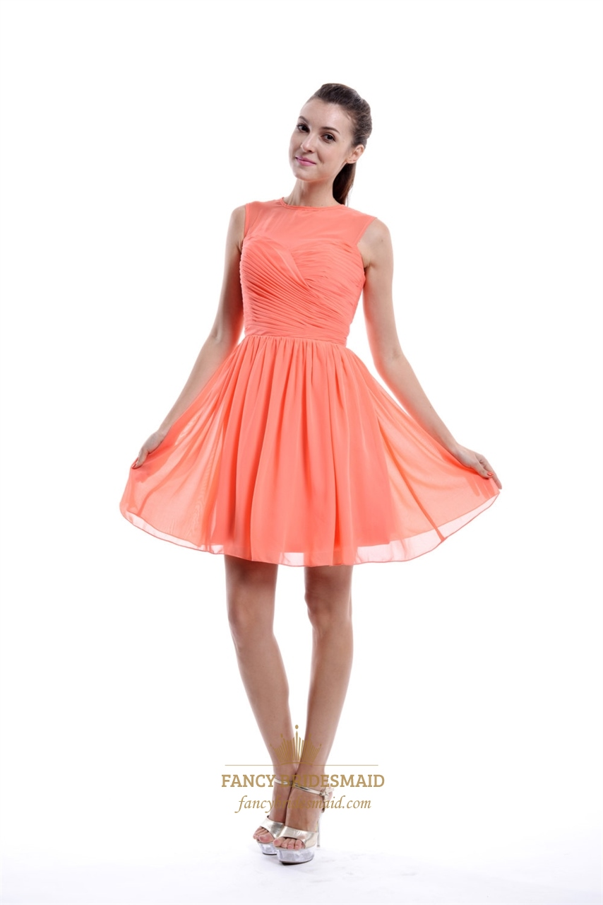 peach sheer illusion high neck sleeveless chiffon short