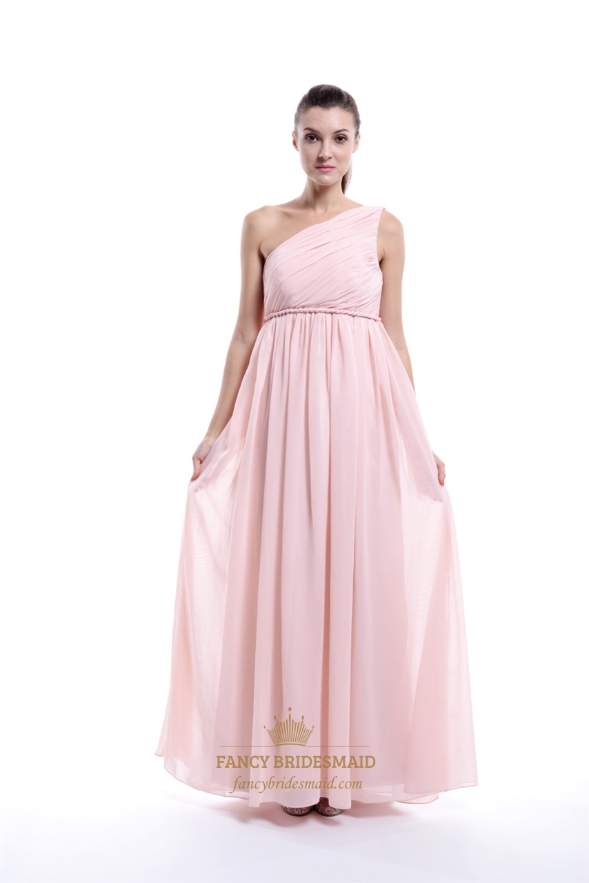 Pale pink chiffon one shoulder a line long bridesmaid dress with pale pink chiffon one shoulder a line long bridesmaid dress with ruching ombrellifo Gallery