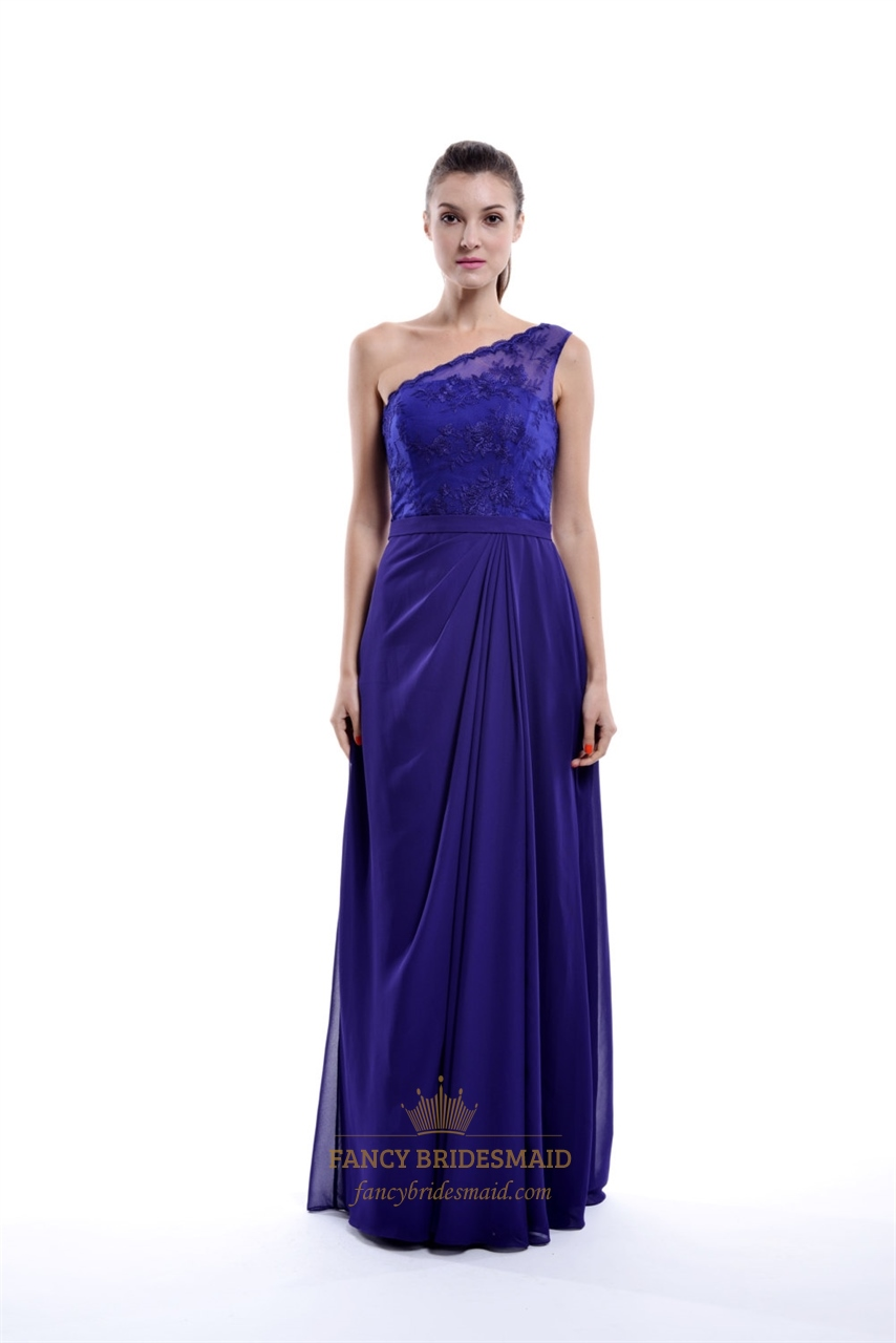 One Shoulder Asymmetrical Draped Column Bridesmaid Dress With Lace ...