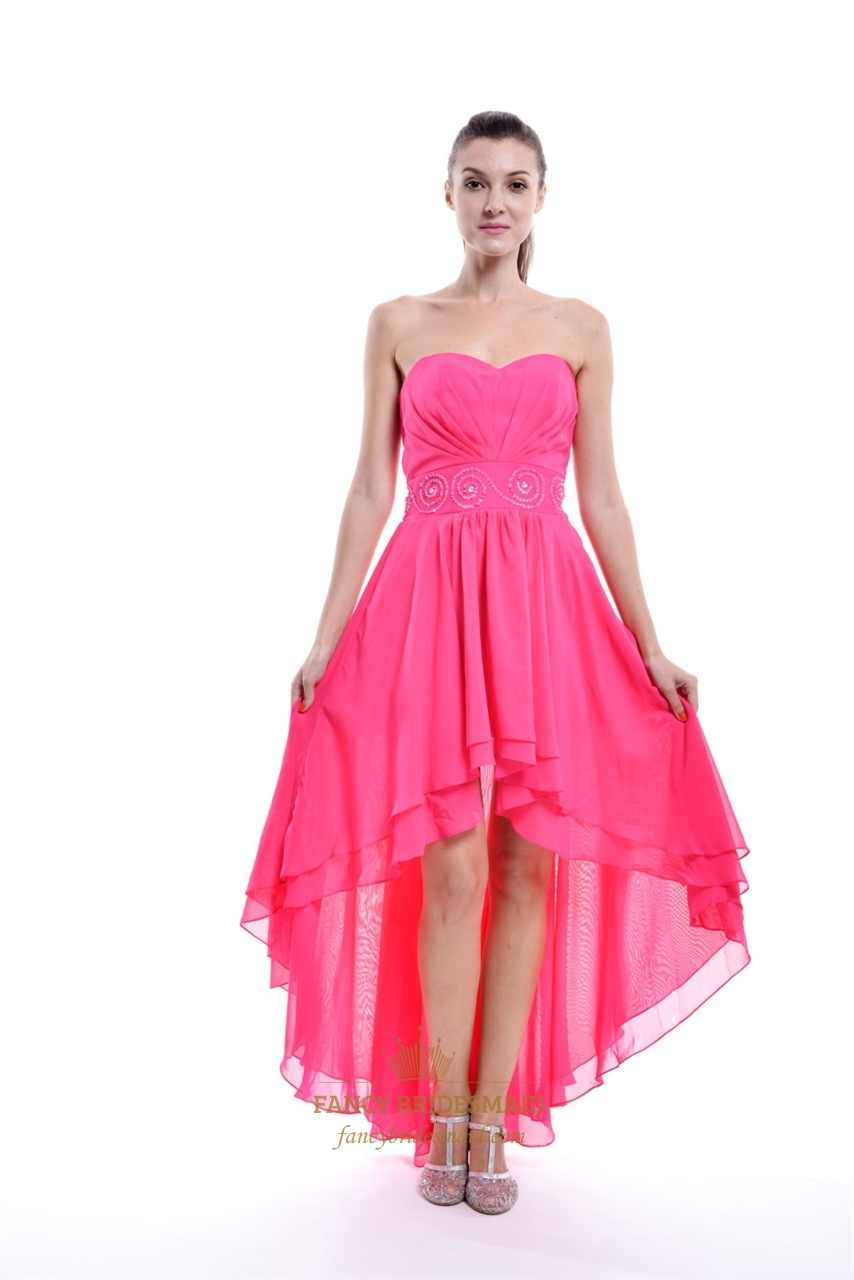 Hot Pink Strapless High Low Chiffon Bridesmaid Dress With Beaded ...