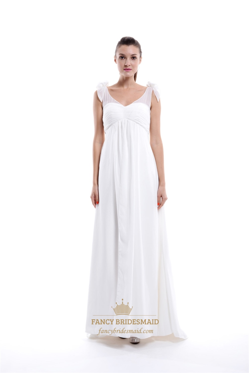 Ivory chiffon empire waist v neck bridesmaid dress with for Ivory empire waist wedding dress