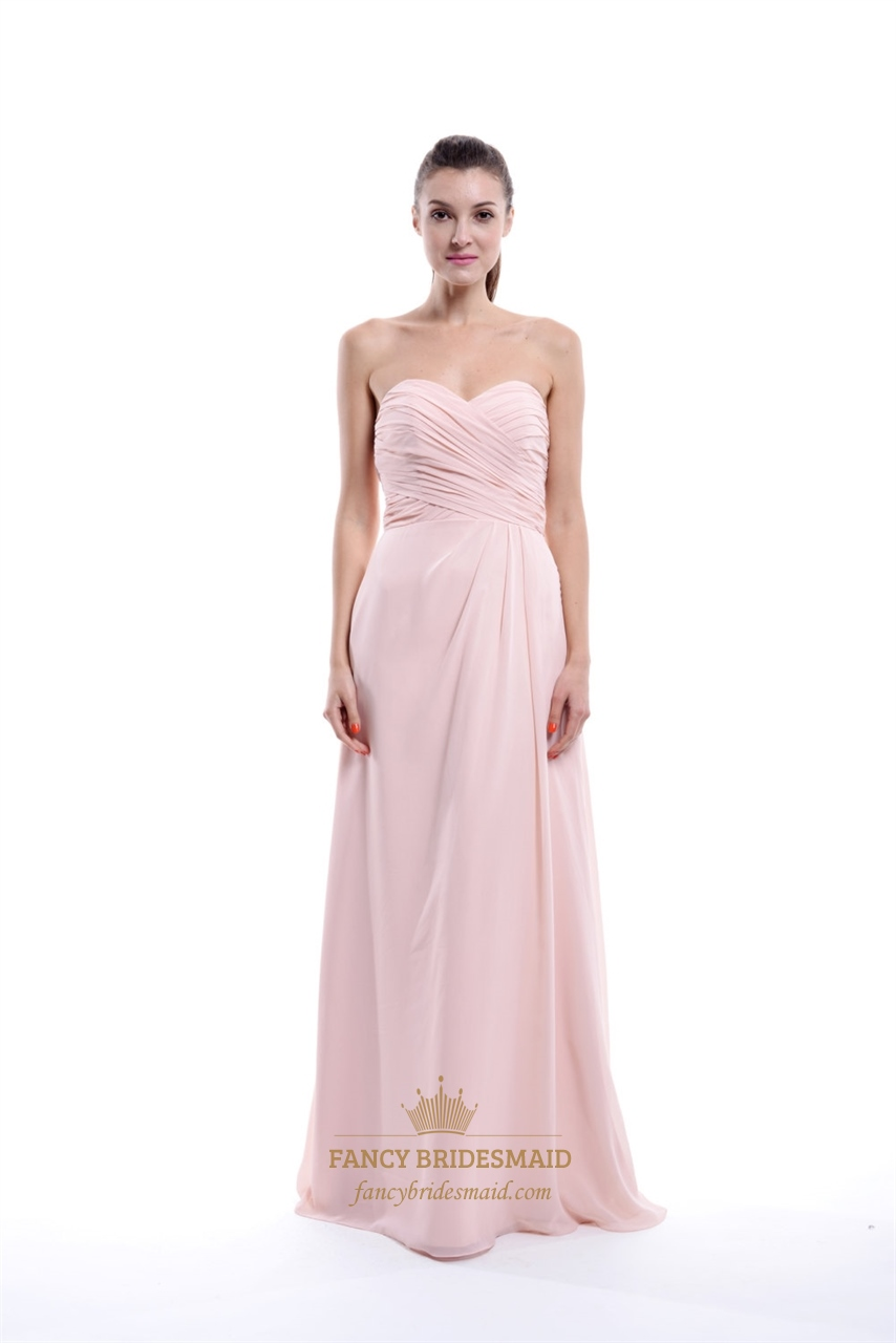 Light Pink Strapless Pleated Chiffon Bridesmaid Dress With Side Ruching