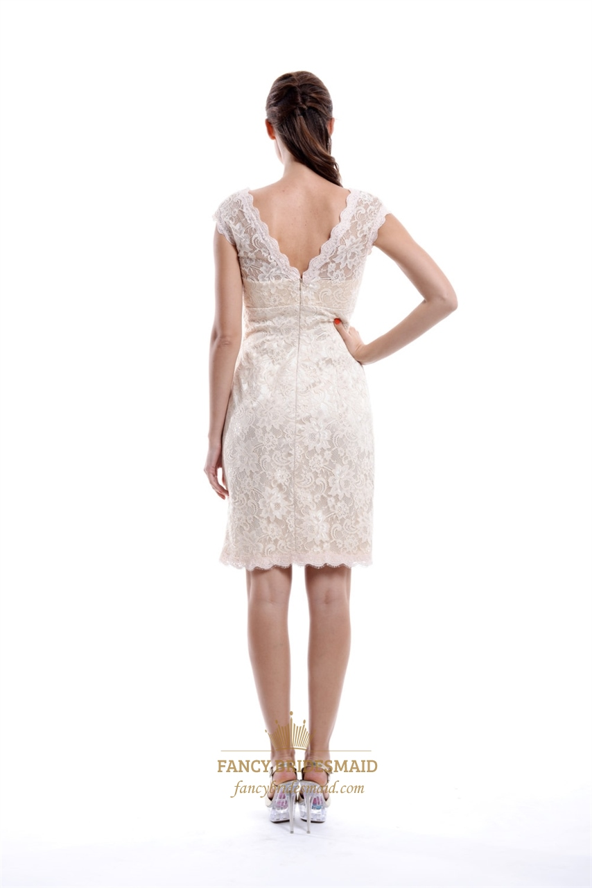 Champagne v neck embellished short bridesmaid dress with for Champagne lace short wedding dress
